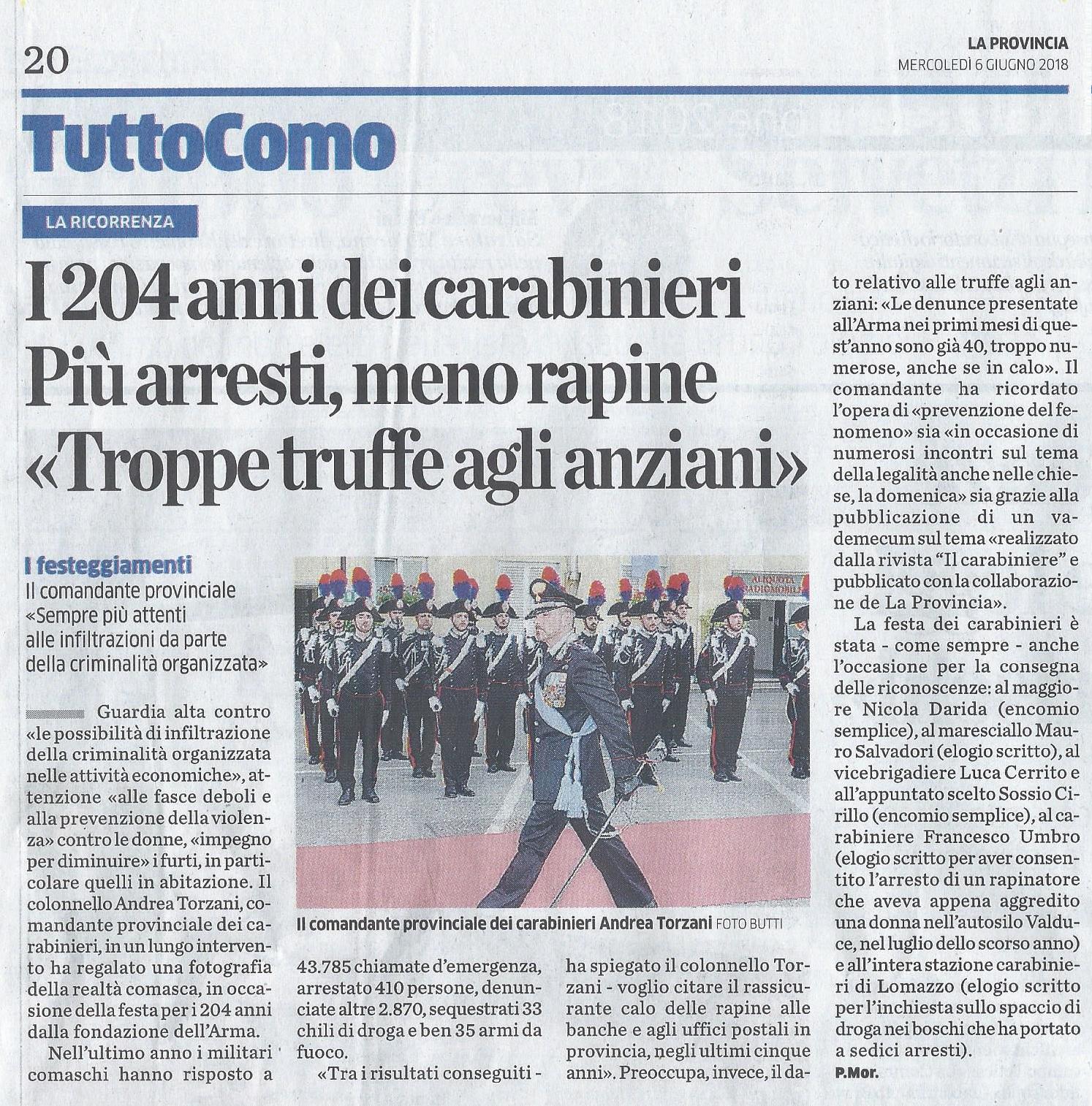 Celebrazione 204° Annuale di fondazione dell'Arma dei Carabinieri